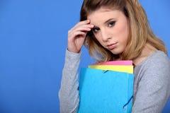 Estudiante con un dolor de cabeza Imagen de archivo libre de regalías