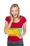 Estudiante de la chica joven en un estudio Imagen de archivo