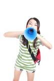 Estudiante de la chica joven que grita a través del megáfono Fotografía de archivo libre de regalías