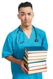 Estudiante de medicina con los libros Imagen de archivo