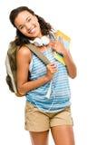 Estudiante de mujer feliz de la raza mixta que vuelve a la escuela Imagen de archivo