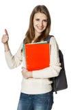 Estudiante de mujer feliz que muestra el pulgar para arriba Fotografía de archivo