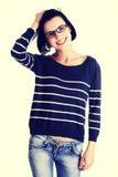 Estudiante de mujer joven hermoso en ropa casual Imagen de archivo