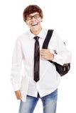 Estudiante de risa con el ordenador portátil Imágenes de archivo libres de regalías
