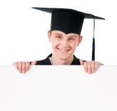 Estudiante de tercer ciclo con el tablero del cartel Imágenes de archivo libres de regalías