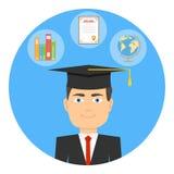 Estudiante de tercer ciclo Un estudiante en un casquillo graduado stock de ilustración