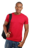 Estudiante del afroamericano con el bolso Imágenes de archivo libres de regalías