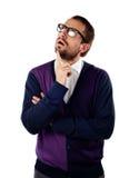 Estudiante del empollón que mira para arriba. Aislado. Imagen de archivo libre de regalías