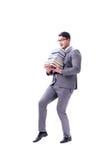 Estudiante del hombre de negocios que lleva sosteniendo la pila de libros aislados en w Fotos de archivo libres de regalías