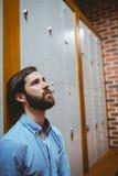 Estudiante del inconformista que siente triste en vestíbulo Fotografía de archivo libre de regalías