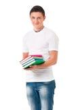 Estudiante del muchacho con los libros Fotos de archivo libres de regalías