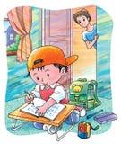 Estudiante diligente stock de ilustración