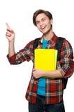 Estudiante divertido aislado en blanco Imagen de archivo