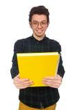 Estudiante divertido aislado en el blanco Imágenes de archivo libres de regalías