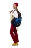 Estudiante divertido con la mochila aislada en blanco Fotos de archivo