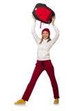 Estudiante divertido con la mochila aislada en blanco Fotografía de archivo
