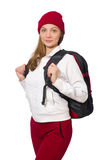 Estudiante divertido con la mochila aislada en blanco Imagen de archivo