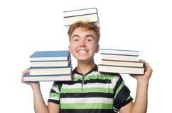 Estudiante divertido con la pila Imagenes de archivo