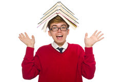 Estudiante divertido con los libros aislados en blanco Imagenes de archivo