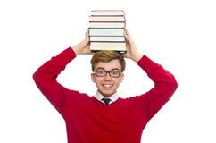 Estudiante divertido con los libros aislados en el blanco Fotos de archivo