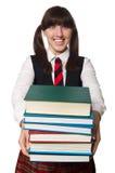 Estudiante divertido del empollón aislado en blanco Imagen de archivo