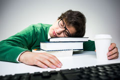 Estudiante durmiente Foto de archivo libre de regalías
