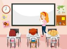Estudiante en clase del ordenador stock de ilustración