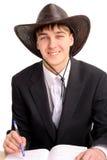 Estudiante en el sombrero de stetson Imágenes de archivo libres de regalías