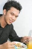 Estudiante en la cafetería fotografía de archivo