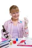Estudiante en laboratorio Imagen de archivo libre de regalías