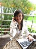 Estudiante en una computadora portátil Imágenes de archivo libres de regalías