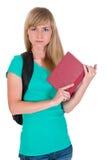 Estudiante enojado con el libro Imagen de archivo