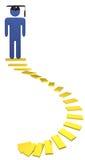 Estudiante espiral del terminal de componente de las escaleras de la educación a la graduación Foto de archivo
