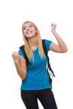 Estudiante feliz casual de la muchacha con el bolso que muestra la muestra de la mano del éxito Imágenes de archivo libres de regalías