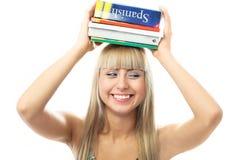 Estudiante feliz con los libros Fotos de archivo