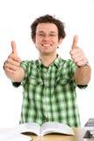 Estudiante feliz loco, pulgares para arriba, aislado en blanco Fotos de archivo