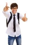 Estudiante feliz que muestra la muestra aceptable Fotos de archivo
