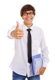 Estudiante feliz que muestra OK Fotografía de archivo libre de regalías