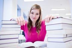 Estudiante femenino con la computadora portátil y los libros Fotos de archivo libres de regalías
