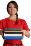 Estudiante femenino con los libros de textos imagenes de archivo