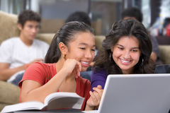 Estudiante femenino que discute algo en la computadora portátil Fotografía de archivo