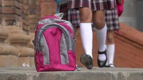 Estudiante Forgets Backpack Foto de archivo libre de regalías