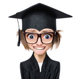 Estudiante graduada de la historieta Imagen de archivo