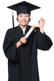 Estudiante graduado de la niña Foto de archivo libre de regalías