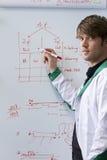 Estudiante hermoso joven de Biotech con whiteboard Fotografía de archivo