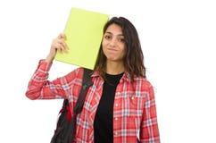 Estudiante joven aislado en blanco Fotografía de archivo libre de regalías