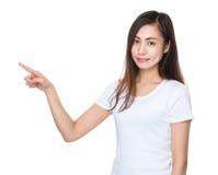 Estudiante joven con el destacar del finger Imagen de archivo libre de regalías