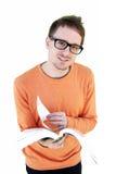 Estudiante joven con el libro abierto Foto de archivo