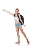 Estudiante joven con la mochila aislada ilustración del vector