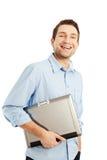 Estudiante joven con la sonrisa de la computadora portátil Fotos de archivo